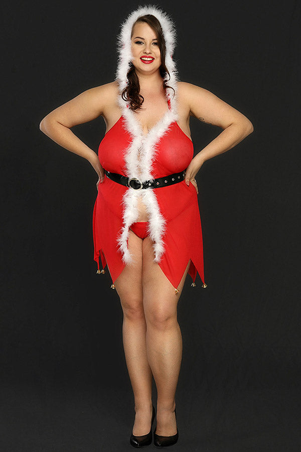 Plus Size Babydoll Sexy Santa Hooded Lingerie For Women