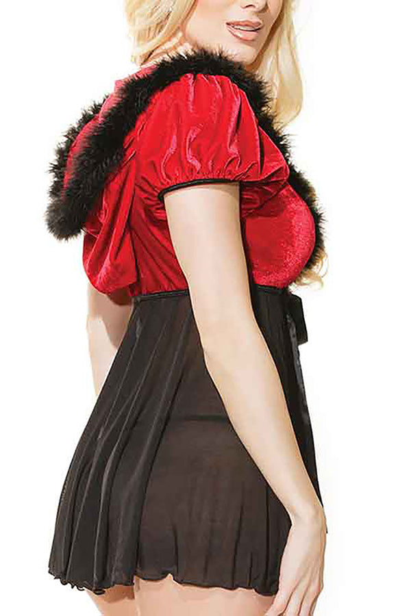 Mrs Claus Christmas Babydoll Lingerie With Hooded