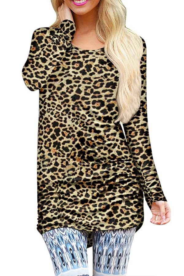 Leopard Long Sleeve Crew Neck Casual Mini Dress Brown