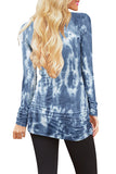 Tie Dye Crew Neck Long Sleeve Shirred Mini Dress Mazarine