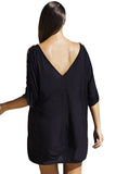 Womens Sexy Plus Size Hollow Out Half Sleeve Dress Black