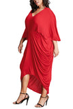Plus Size Dolman Sleeve Dress Ruched Red