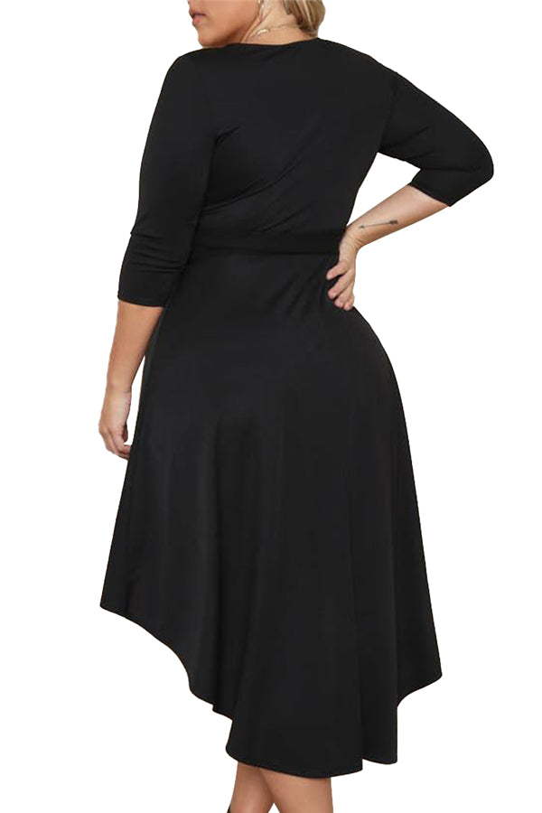 Plus Size Solid High Low Dress With Tie Black