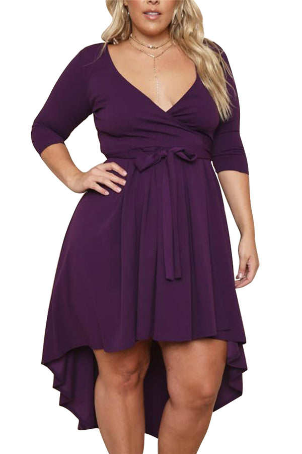Plus Size Surplice Neck Midi Dress Purple