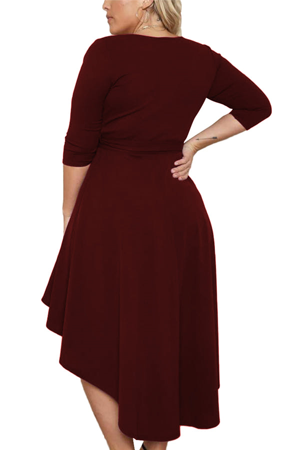 Plus Size Wrap Front High Low Dress Ruby