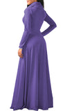 Womens Cowl Neck High Waisted Long Sleeve Plain Maxi Dress Purple