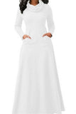 Womens Cowl Neck High Waisted Long Sleeve Plain Maxi Dress White