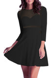 3/4 Sleeve Mini Dress Mesh Sheer Black