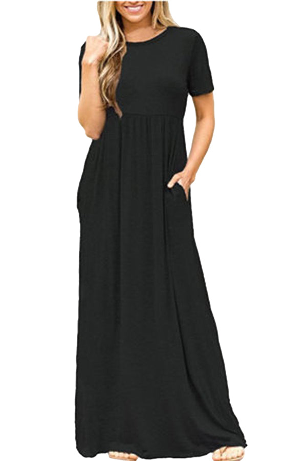 Womens High Waisted Short Sleeve Pocket Plain Maxi Dress Black