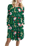 Long Sleeve Side Pocket Santa&Reindeer Print Christmas Dress Green