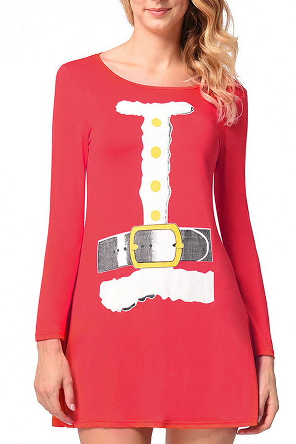 Womens Long Sleeve Christmas Santa Claus Dress