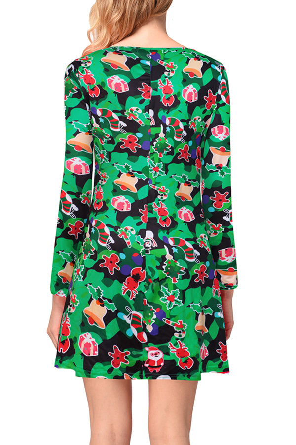 Crew Neck Womens Ugly Christmas Dress Green