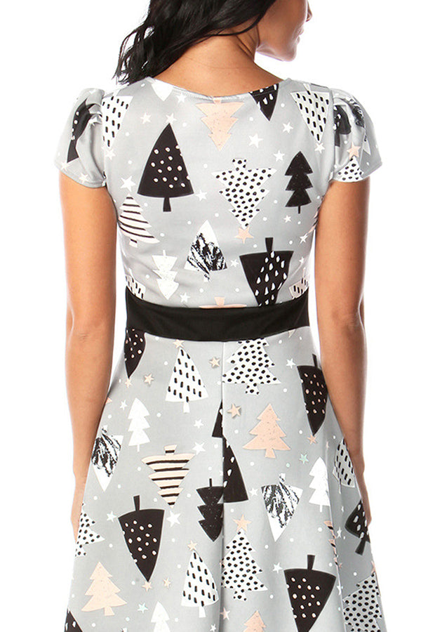 Short Sleeve Christmas Tree Dress Gray