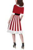 Womens Half Sleeve Xmas Santa Dress Ruby