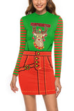 Merry Christmas Reindeer Dress Green