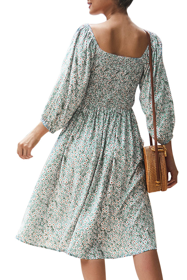 Long Sleeve Floral Smocked Midi Dress Green
