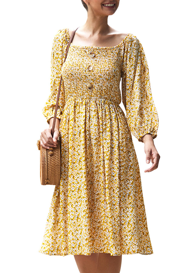 Square Neck Smocked Floral Dress Yellow