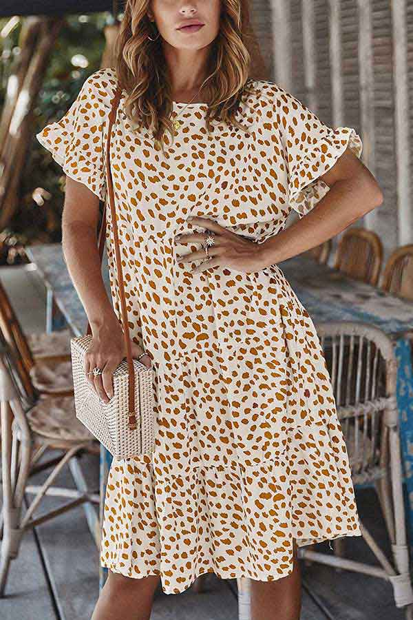 Summer Crew Neck Ruffle Print Babydoll Midi Dress White