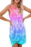 Women's Sleeveless Knot Front Tie Dye Tank Dress Red