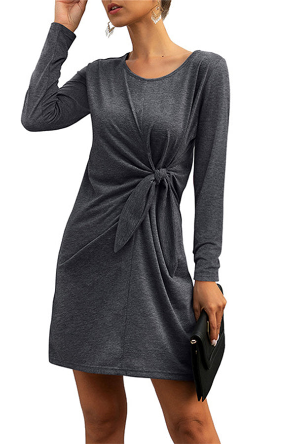 Crew Neck Long Sleeve Knot Plain Mini T-Shirt Dress Dark Grey