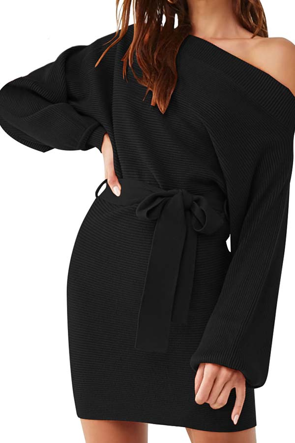 Sexy Off Shoulder Batwing Sleeve Sweater Dress With Belt Black