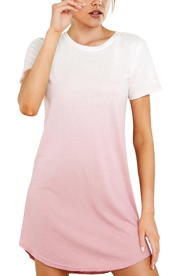 Crew Neck Ombre T-Shirt Dress Baby Pink