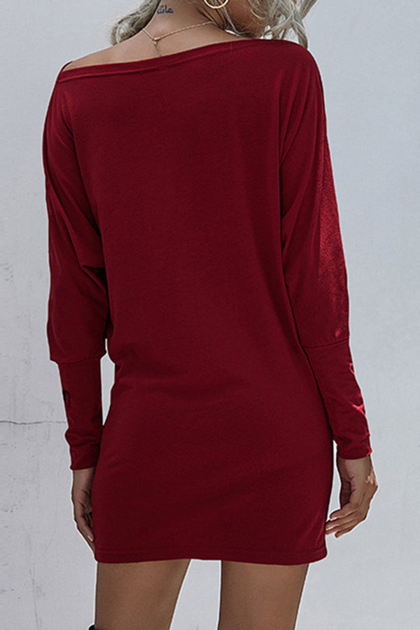 Off Shoulder Bishop Sleeve Solid Mini Dress Ruby