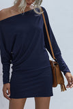 Solid Off Shoulder Long Sleeve Mini Dress Navy Blue