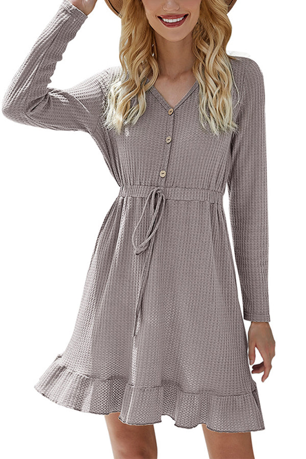 Long Sleeve Ruffle Waffle Knit Mini Dress Gray