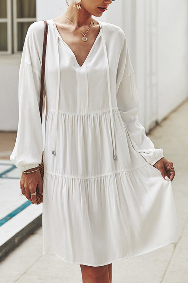 Solid Long Sleeve Pleated Cut Out Midi Dress White