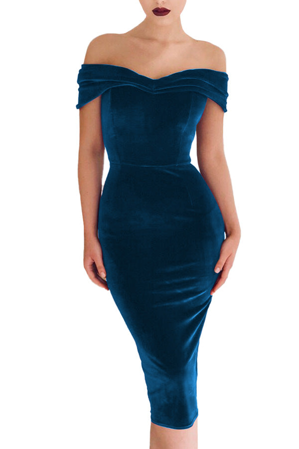 Sexy Off Shoulder Velvet Bodycon Maxi Prom Dress Sapphire Blue