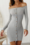 Long Sleeve Off Shoulder Ribbed Bodycon Mini Dress Grey