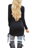 Solid Long Sleeve Crew Neck Shirred Side Mini Dress Black