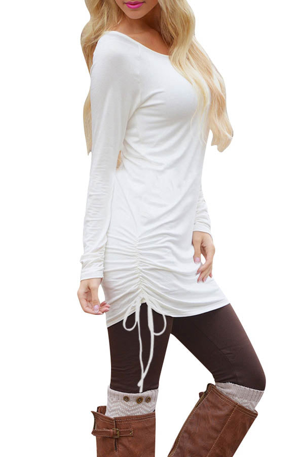 Casual Plain Crew Neck Long Sleeve Ruched Mini Dress White