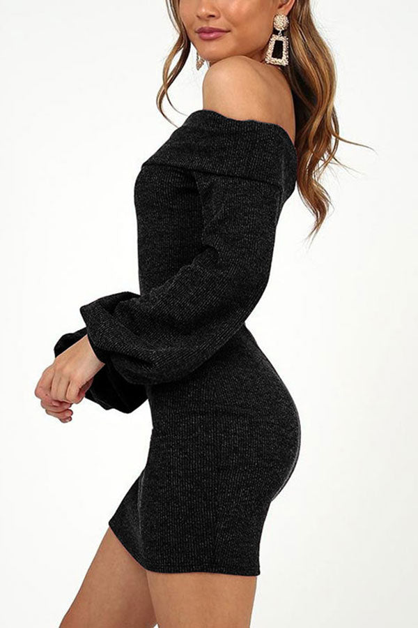 Lantern Sleeve Off The Shoulder Bodycon Mini Dress Black