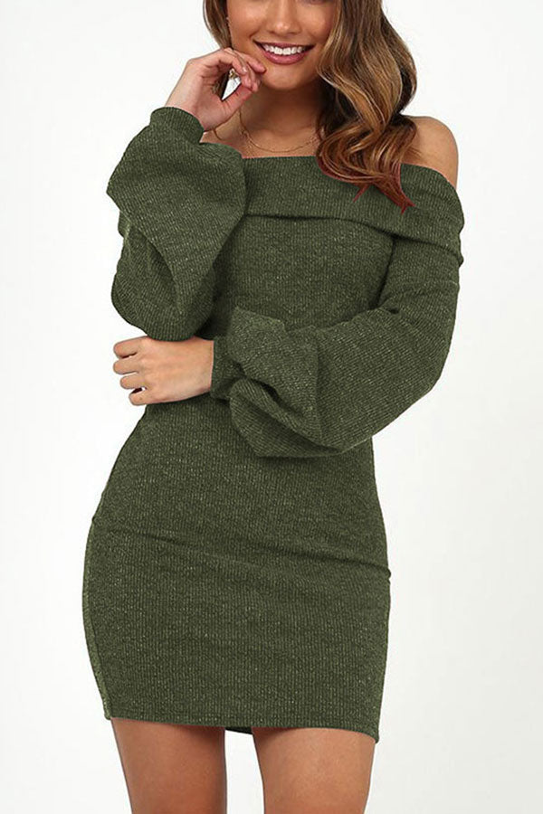 Off Shoulder Long Sleeve Bodycon Dress For Women Green