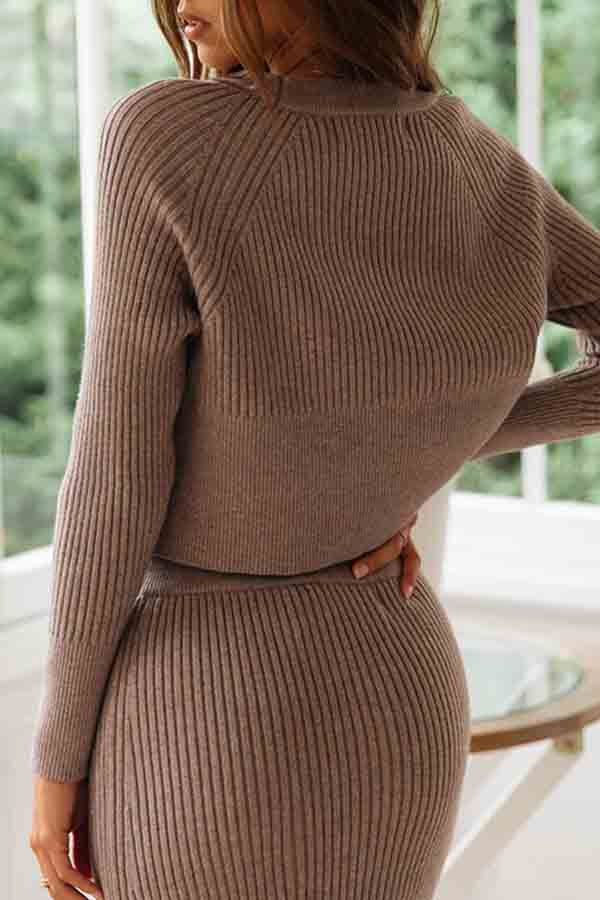 Pullover Plain Ribbed Sweater Slit Skirt Set Coffee