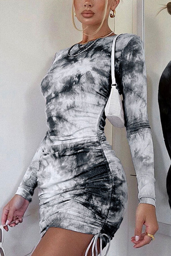 Long Sleeve Crew Neck Tie Dye Ruched Bodycon Mini Dress Grey