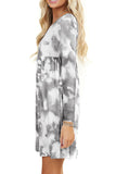 Casual Long Sleeve Tie Dye Babydoll Plus Size Mini Dress Grey