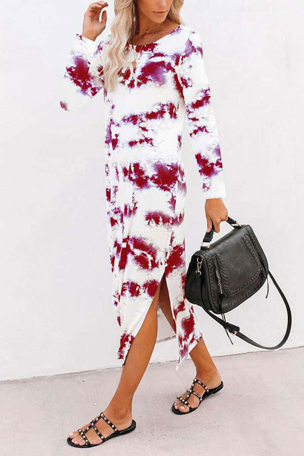 Casual Long Sleeve Crew Neck Tie Dye Slit Maxi Dress Ruby