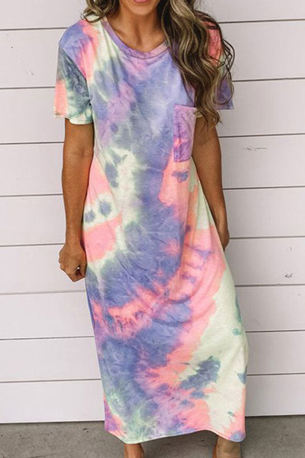 Short Sleeve Crew Neck Tie Dye Slit Pocket Maxi Dress Blue