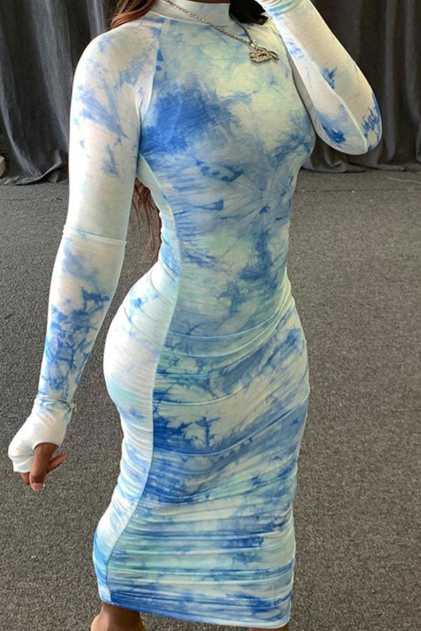 Tie Dye Ruched Mock Neck Raglan Long Sleeve Bodycon Maxi Dress