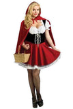 Little Red Riding Hood Costume Cape Sexy Halloween Costumes Set Ruby