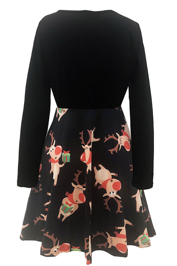 V Neck Color Block Christmas Deer Swing Dress Khaki