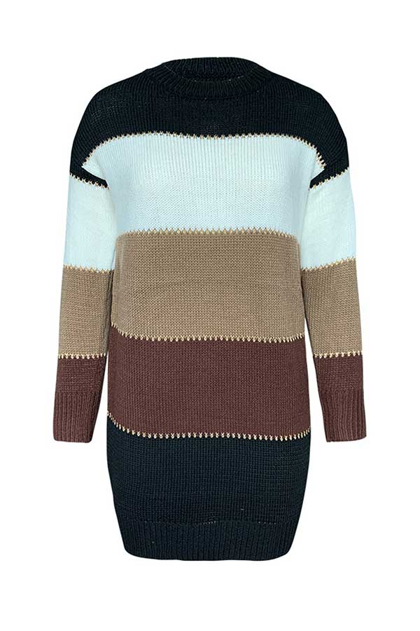 Long Sleeve Color Block Sweater Dress Brown