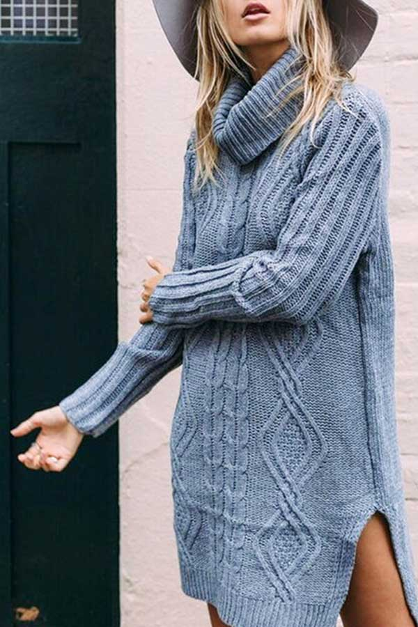 Long Sleeve Slit Cable Knit Sweater Dress Blue