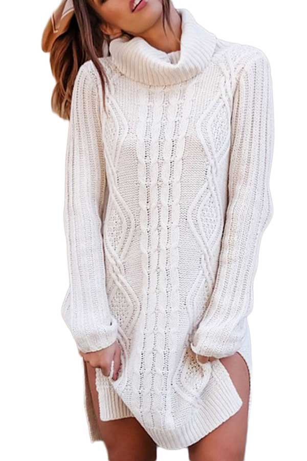 Turtleneck Cable Knit White Sweater Dress