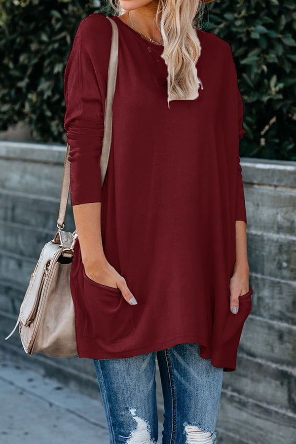 Ladies Crew Neck Long Sleeve Tunic Dress