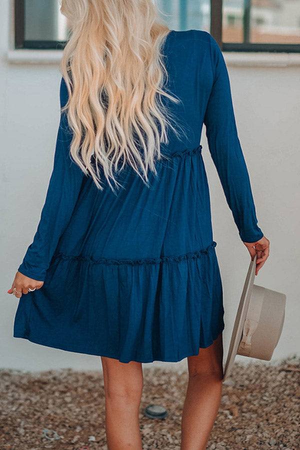 Women's Long Sleeve Swing Ruffle Tunic Dress