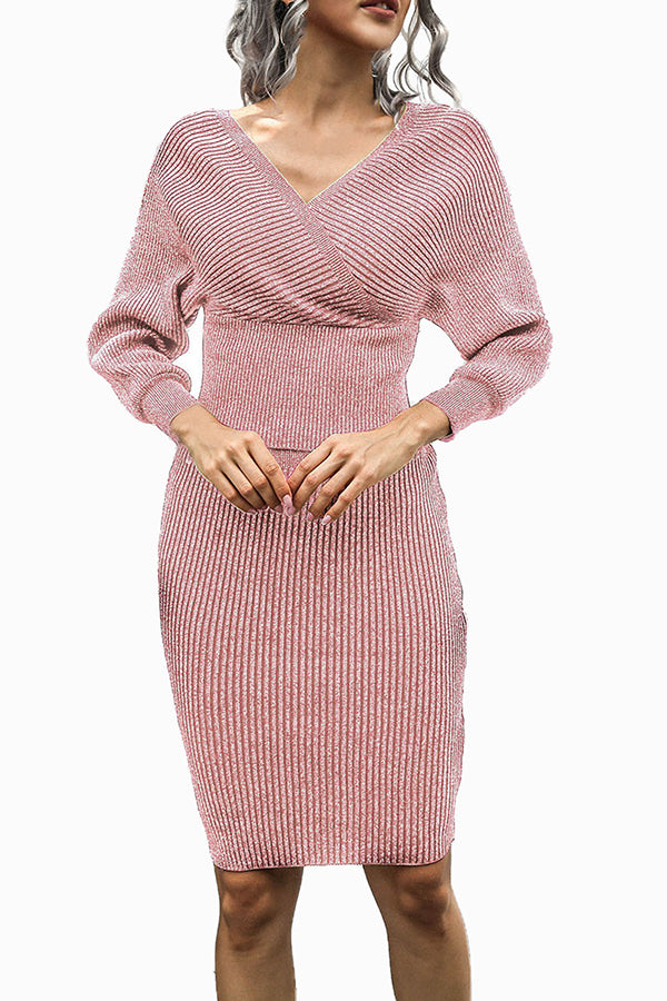 V Neck Ribbed Midi Dress For Women